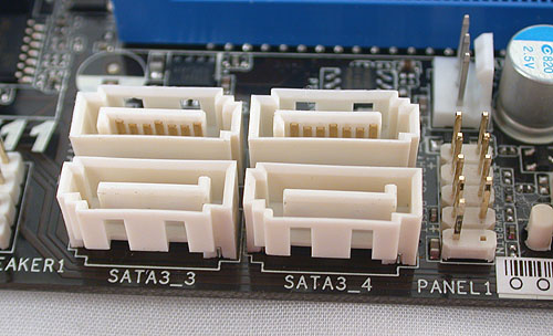 There are four SATA 6Gbps ports onboard, with the eSATA option at the rear also SATA 6Gbps compatible.