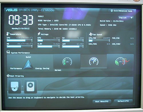 We have seen this very polished ASUS EFI BIOS on its Deluxe edition of this P67 series. It's similar on this non-Deluxe edition, with a responsive and easy to use interface. The relevant info can be taken in at a glance with the EZ Mode, while advanced users can play with more settings in the Advanced Mode.