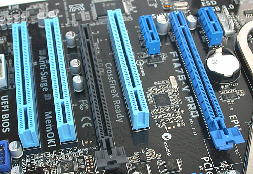 Again, the second PCIe 2.0 x16 slot here only gets 4 lanes of PCIe bandwidth, making CrossFireX possible but not recommended. However, we doubt that users will require this feature.