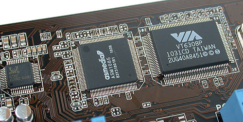 Some of the onboard modules on the ASUS P8P67; note that FireWire (VIA VT 6308P) is still supported.