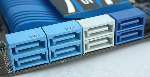 Besides the four light blue SATA 3Gbps ports from the P67 chipset, the two gray ones here are SATA 6Gbps ports from the same chipset and the darker, navy blue SATA ports are 6Gbps ones from the additional Marvell controller.