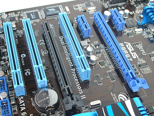 While there are two PCIe 2.0 x16 slots for graphics cards, and this board supports up to quad CrossFireX configs, the second, black slot runs at x4 and shares bandwidth with the two PCIe x1 slots and one of the two USB 3.0 controller. It's certainly a dampener if you're thinking of dual graphics cards, for which we would suggest investing in a higher-end model with more dedicated bandwidth.
