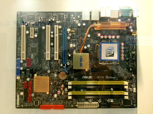 ASUS P5B Deluxe motherboard features the Intel P965 chipset with an ICH8R Southbridge and is Core 2 Duo and Core 2 Extreme ready. Looks like the board will have two PCIe x16 slots, 6 SATA ports and dual Gigabit LAN.