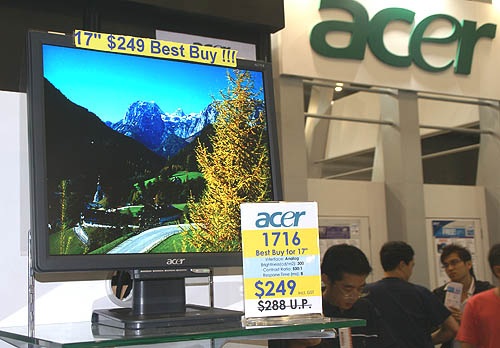 Priced at $249 for the first 100 units only, the Acer AL1716 has a good response time of 8ms and a high contrast ratio of 500:1. Definitely worth rushing down for.