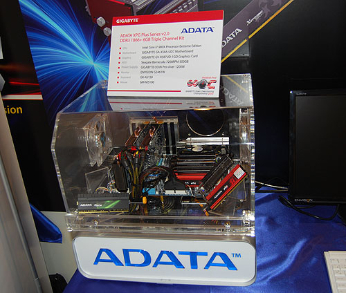 Sponsors like ADATA also gets a chance to show off their products, like this demo system using the same triple channel kit used in the competition.