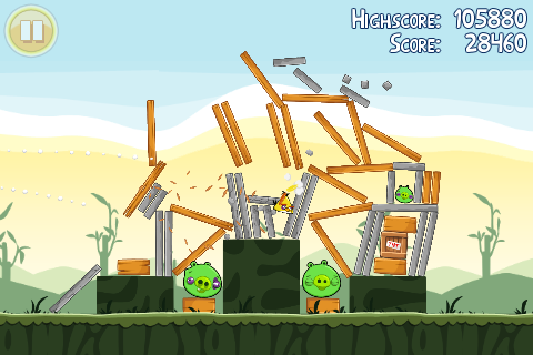 Angry Birds has identifiable characters and simple gameplay mechanics.