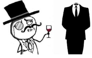 The LulzSec (left) and Anonymous (right) logos.