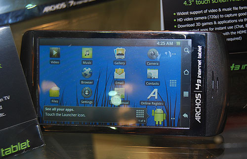 Another Android powered internet device from Archos is the Archos 43 internet tablet, which also has a resistive touchscreen (854 x 480) and with a 1GHz ARM processor.