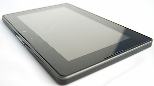 BlackBerry keeps the front of the PlayBook clean by integrating navigation gestures onto the black bezel.