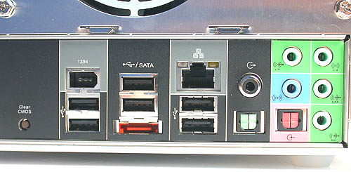 The addition of an external SATA port is what's new about the ports at the back of the SN27P2. The rest include up to six USB2.0 ports and a Gigabit port (ideally there should have been two to take advantage of the NVIDIA DualLink technology). The extremely useful Clear CMOS button is also present as usual.