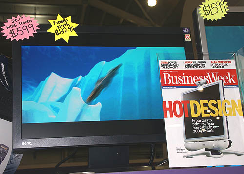 20-inch widescreen LCD monitors are the popular choice nowadays for those needing larger screens and BenQ's FP202W is found at a competitive $599. There are also free gifts worth up to $132 (a Targus notebook case and a DVI cable).