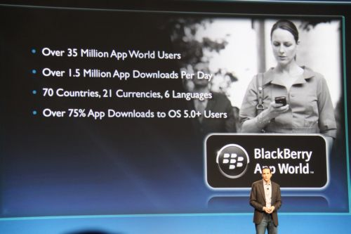 Tyler Lessard, VP for Global Alliances and Developer Relations, sets the stage for App World initiatives by reiterating how much the BlackBerry App World has accomplished since it went live on 1 April 2009.