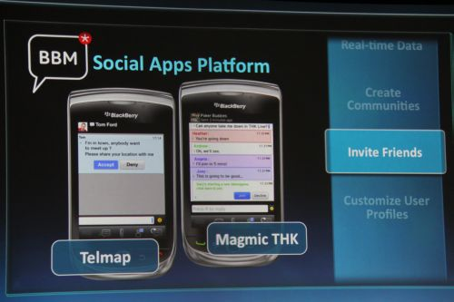 Several developers have produced apps that leverage on the BlackBerry Social Apps Platform such as Telmap and ScoreMobile. Basically, within the apps, users can invite other BBM users to join in, do data transfers and chat within their own BBM private circle of friends.