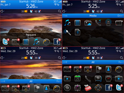 There are some slight differences to BlackBerry 6 OS as seen on the BlackBerry Torch 9800. However, the same concept holds true across this new BlackBerry OS, including various dropdown menus and a single home page with multiple categories.