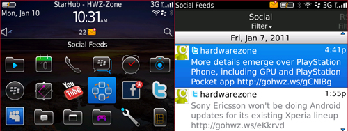 Pre-loaded apps such as Social Feeds (as seen on the Torch 9800) will consolidate your social networks into a single channel.