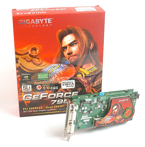 Of course Gigabyte wasn't going to be left out of the GeForce 7950 GX2 bandwagon. So here's its GV-3D1-7950-RH.