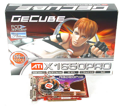 GeCube is quick out of the blocks for its Radeon X1650 PRO Platinum, which gets its 'Platinum' from its slightly overclocked memory frequency.