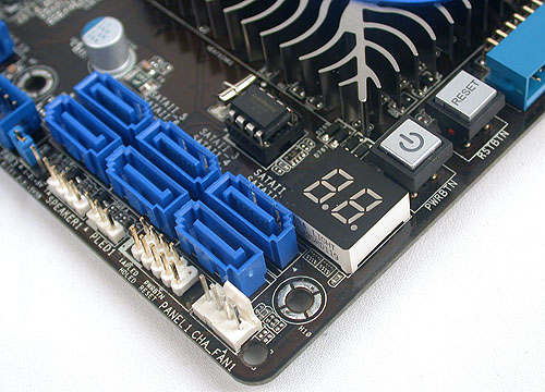 The rest of the SATA 3.0Gbps ports are near the debug LED and power/reset buttons. While they are facing upwards, we don't see it getting in the way of your expansion slots.