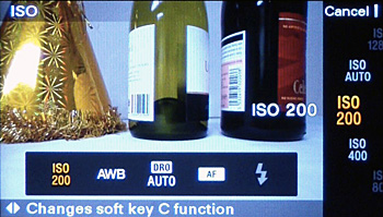 Pressing the Custom key brings up a row of icons showing the available functions.