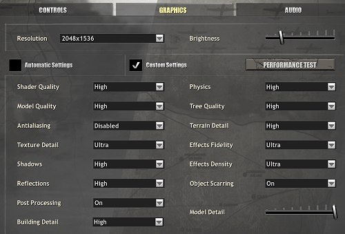 The image quality settings used in our testing of Company of Heroes, which is basically the maximum for all options. Anti-aliasing was controlled via the control panel - but more on this aspect later in the article.