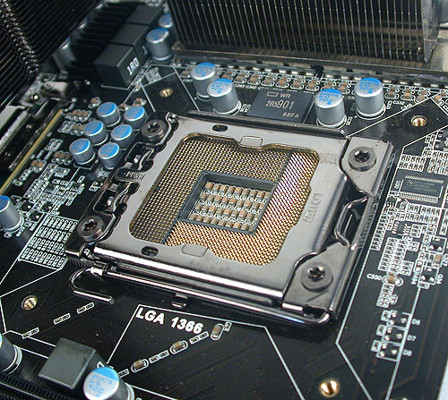 Solid capacitors are used throughout the board, with a 10-phase digital PWM power delivery system for the CPU. While we had issues installing the Intel stock cooler, other coolers may have little trouble with the confines of the CPU socket here.
