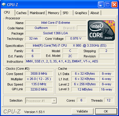While idle in Windows, the Core i7-980X runs at almost 3.5GHz (133 x 26). Turbo Boost has already kicked in, as the default non-turbo speed is (133 x 25) or 3.3GHz.