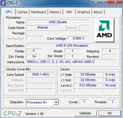 The 1.6GHz Zacate is part of AMD's Bobcat CPU architecture.