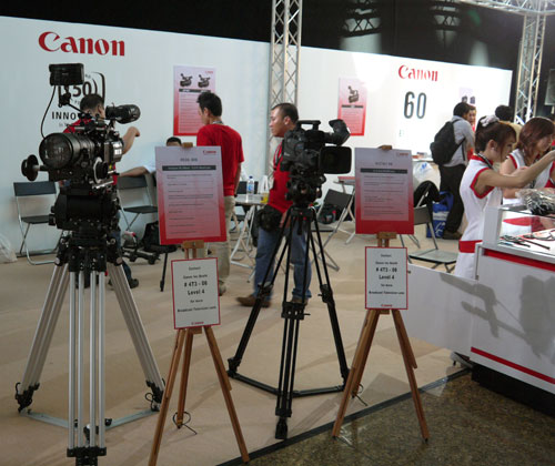 Canon's FK30-300 HD-EC CineZoom lenses (extreme left) are one of many professional broadcast lenses on display at the third level of the Convention Center. These high contrast lenses also feature a 11-blade iris deployed in both lenses to achieve a natural bokeh with out-of-focus highlights.