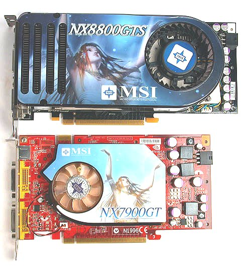 The GeForce 8800 GTS is about as long as ATI's high-end cards and on par with the length of a GeForce 7900 GTX. Shown here is MSI's own GeForce 7900 GT that represents the length of most mid-range cards, for which the MSI GeForce 8800 GTS is a fair bit longer.