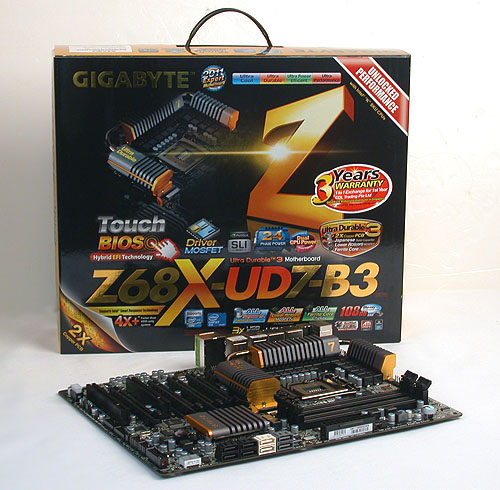 Gigabyte seems to believe that the more logos the better, with the packaging of this Z68 board festooned with them.