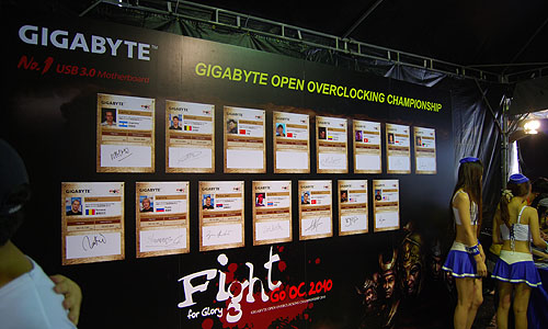 The 'wall of fame' with their vital stats for the 15 competitors.