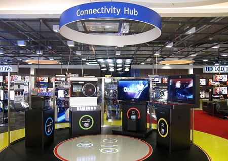 Courts and their Connectivity Hubs aim to educate interoperability of the various products in an interactive manner. Sensors are mounted on the ceiling to detect a user's position on the floor which relates to different actions and in the process learning how to use the various products wirelessly - thanks to DLNA.