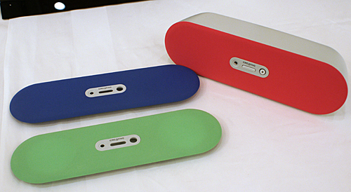 The super-affordable D80 speakers allow for connectivity through Bluetooth and offer you the option to customize the color by having a replaceable grill. Some color options can be seen in this picture.