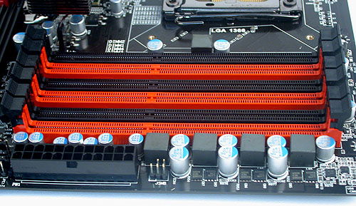 Triple-channel architecture is standard for the X58 chipset and up to 24GB of memory can be installed on this board.