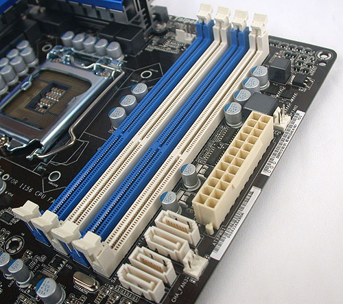 The usual four DIMM slots on an Intel P55 motherboard, with its dual-channel memory architecture. The board supports overclocked memory frequencies of up to 2600MHz and these can be set in the BIOS.