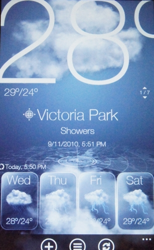 On clicking the weather widget, you will get transported to a page with HTC's trademark weather animation as well as weather data for major cities around the world.