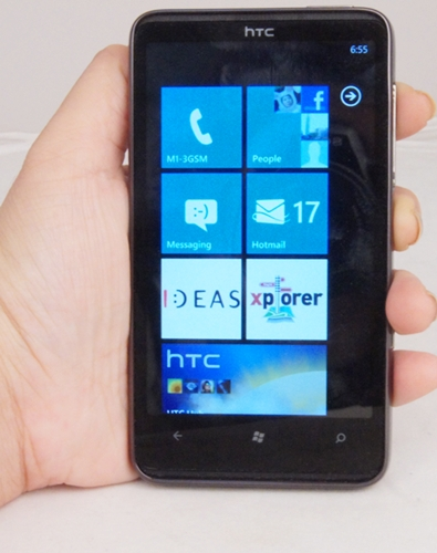 The HTC HD7 looking smart with a streamlined button layout and a clean Windows Phone 7 interface.