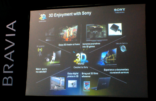 Much like Panasonic's game plan, Sony has grand ambitions to cover every angle in 3D production; from 3D content creation to bringing stereoscopic images to hero products such as their BRAVIA televisions and Cyber-shot cameras.