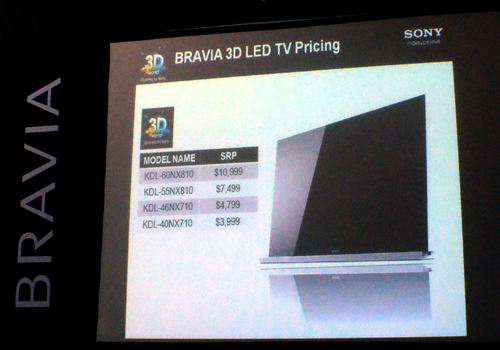 As the picture suggests, there is a spike of more than three grand between the 55-inch and 60-inch NX810 models. The 40-inch NX710 is rather affordable as it is. Note that prices indicated here are inclusive of an IR emitter and two pairs of active-shutter glasses. Both BRAVIA models are available for retail.