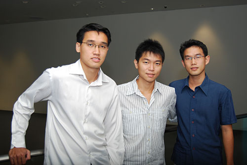 Gothere.sg founders from a picture taken in 2009. (From left) Kuan Chih Yuan, Dominic Ee and Toh Kian Khai. They've since been joined by Junhan Ang to form a four-man team.