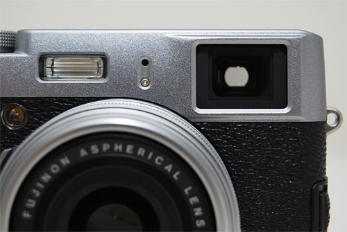 The X100's optical viewfinder lets you look straight through the glass like a classic rangefinder.