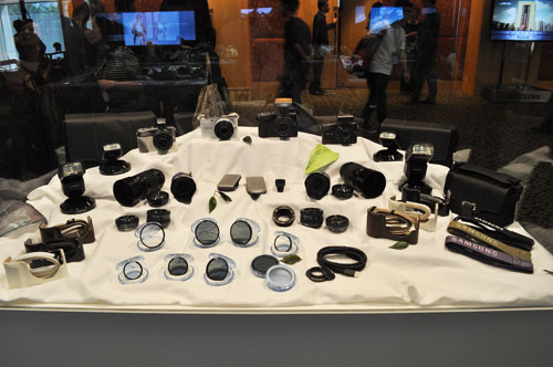 The NX100 cameras with an array of available, announced and coming lenses and accessories.