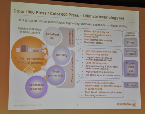 The full set of unique selling points and features of the Fuji Xerox Color 800/1000 Presses.