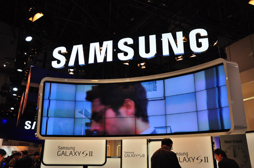 It is clear that the Samsung GALAXY S II takes center stage at the Samsung booth.