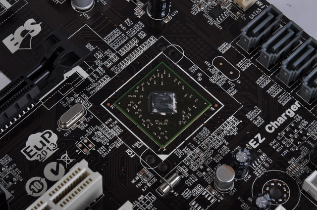 Underneath the unfussy-looking heatsink near the SATA connectors lies AMD's A75 Fusion Controller Hub (FCH). This chip is responsible in providing native USB 3.0 and SATA 6Gbps support for the A75F-A motherboard.