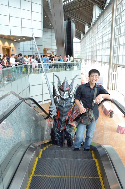 Not everyday you have a big...whatever he is...going up the escalators in Suntec City.