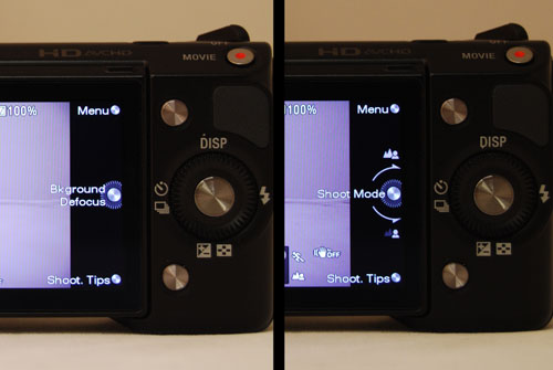 The three silver buttons on the back change their functions depending on context. In iA mode (left) the main silver button now controls 'background defocus', while in shutter/aperture/manual modes it takes you back to the shooting mode control.