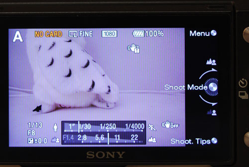A close-up of the shooting screen in Aperture mode. The two meters on the bottom helpfully show you your settings at a glance, and the physical scroll wheel now becomes a control for aperture settings.