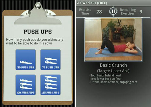 Aiming to be able to do a hundred straight push-ups without breaking a sweat? Rittr Labs' workout apps (left) can help you get started on that road, while Daniel Miller's apps (right) can show you how to do those key exercise properly with video demonstrations.