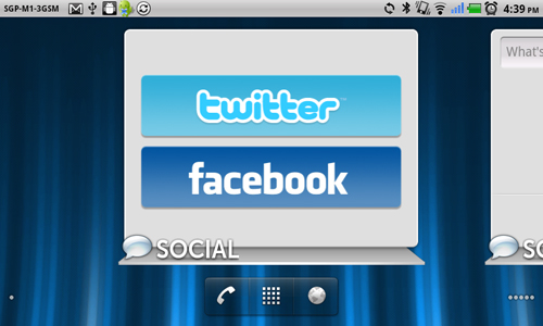 You can choose to have Twitter or Facebook on your social widget...